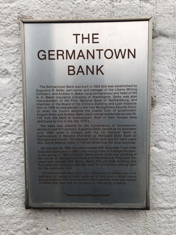 The Germantown Bank Marker image. Click for full size.