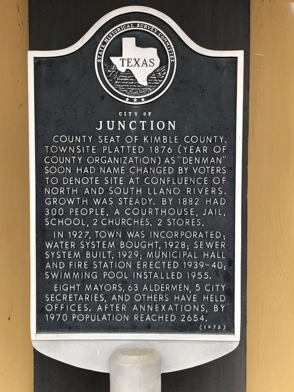 City of Junction Marker image. Click for full size.