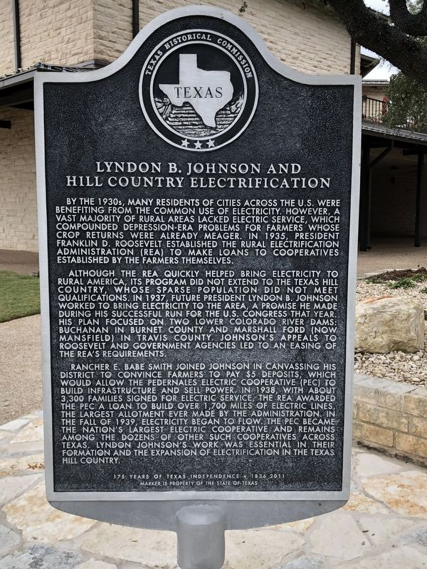 Lyndon B. Johnson and Hill Country Electrification Marker image. Click for full size.