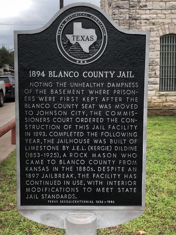 1894 Blanco County Jail Marker image. Click for full size.