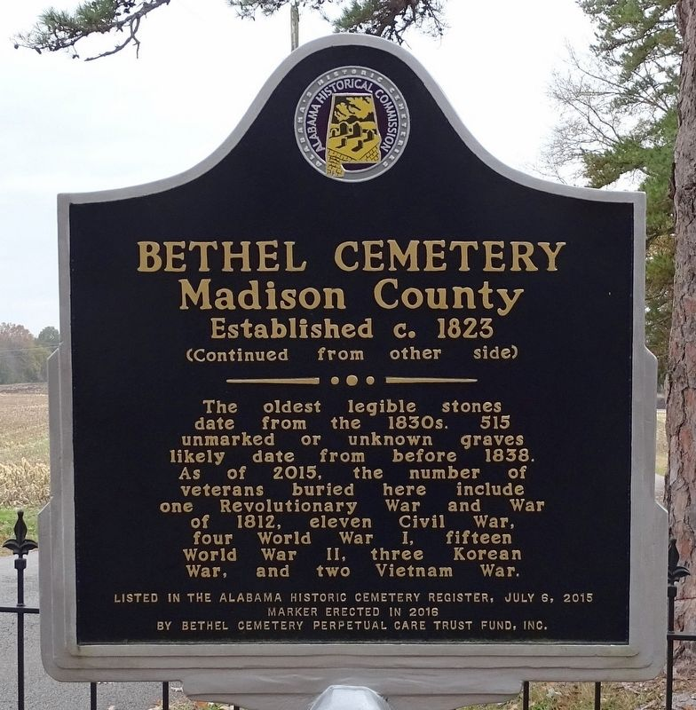 Bethel Cemetery Madison County Marker image. Click for full size.