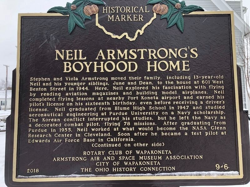 Neil Armstrong's Boyhood Home Marker Side A image. Click for full size.