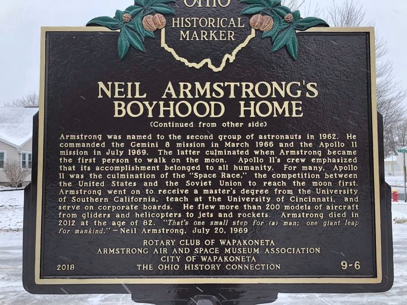 Neil Armstrong's Boyhood Home Marker Side B image. Click for full size.