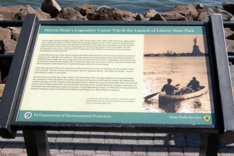 Morris Pesin's Legendary Canoe Trip & the Launch of Liberty State Park Marker image. Click for full size.