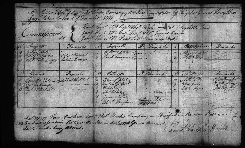 Commission muster roll listing Captain Thomas Clark image. Click for full size.