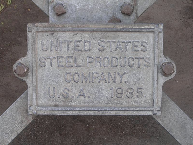 United States Steel Products Company plate on the tower image. Click for full size.