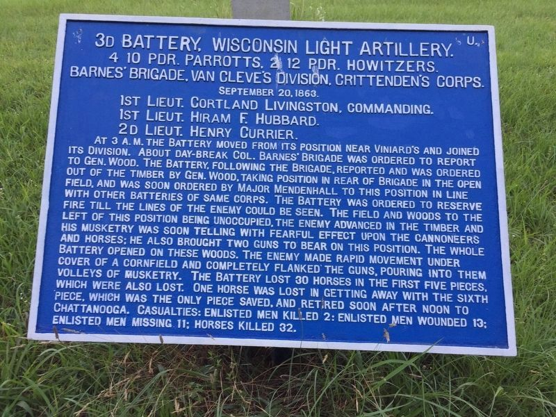 3d Battery, Wisconsin Light Artillery Marker image. Click for full size.