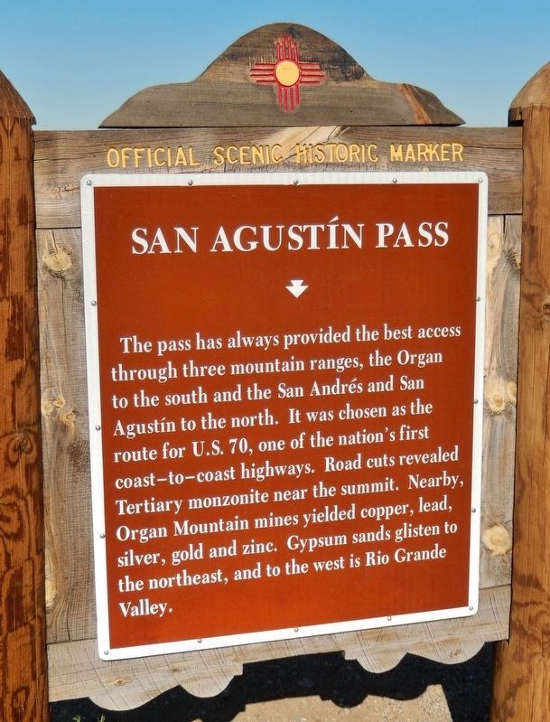 San Augustín Pass Marker (<i>updated photo; wording has changed slightly</i>) image. Click for full size.