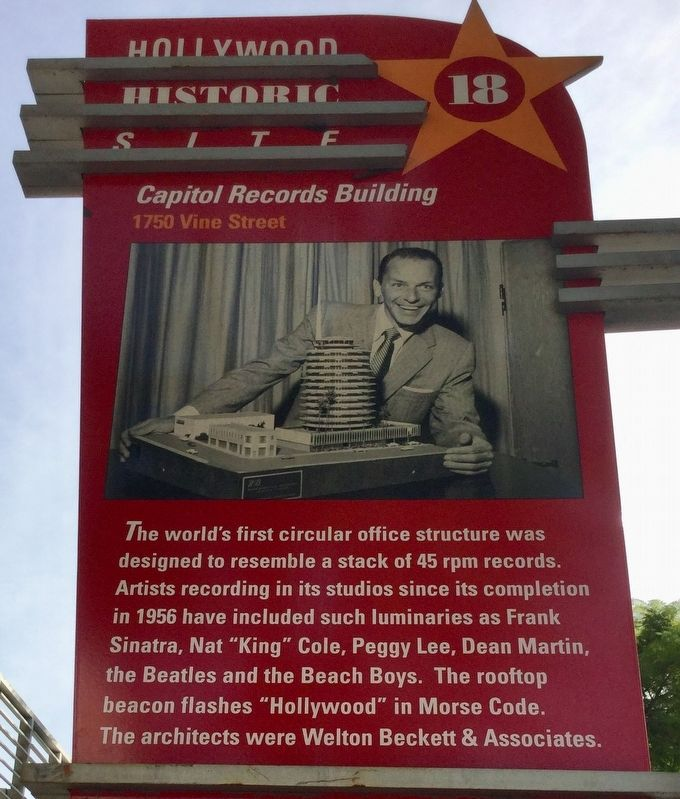 Capitol Records Building Marker image. Click for full size.