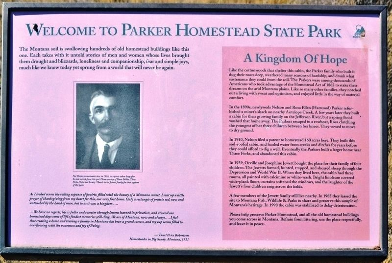 Welcome to Parker Homestead State Park Marker image. Click for full size.