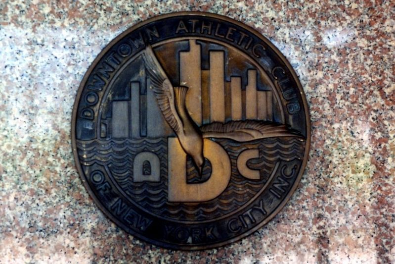 The Downtown Athletic Club seal, May 2002 image. Click for full size.
