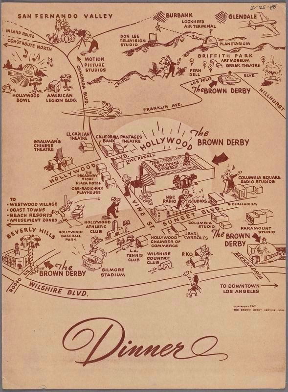 Front of Brown Derby Restaurant Menu, showing the four locations in 1948 image. Click for full size.