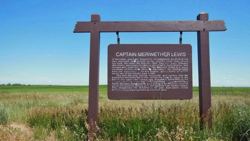 Captain Meriwether Lewis Marker (<i>wide view</i>) image. Click for full size.
