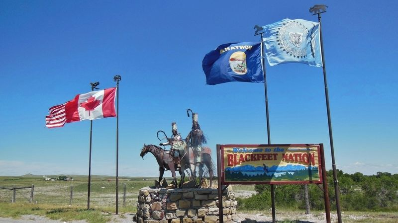 Welcome to Blackfeet Nation Sign (<i>6/10 mile north of marker on US Highway 89</i>) image. Click for full size.