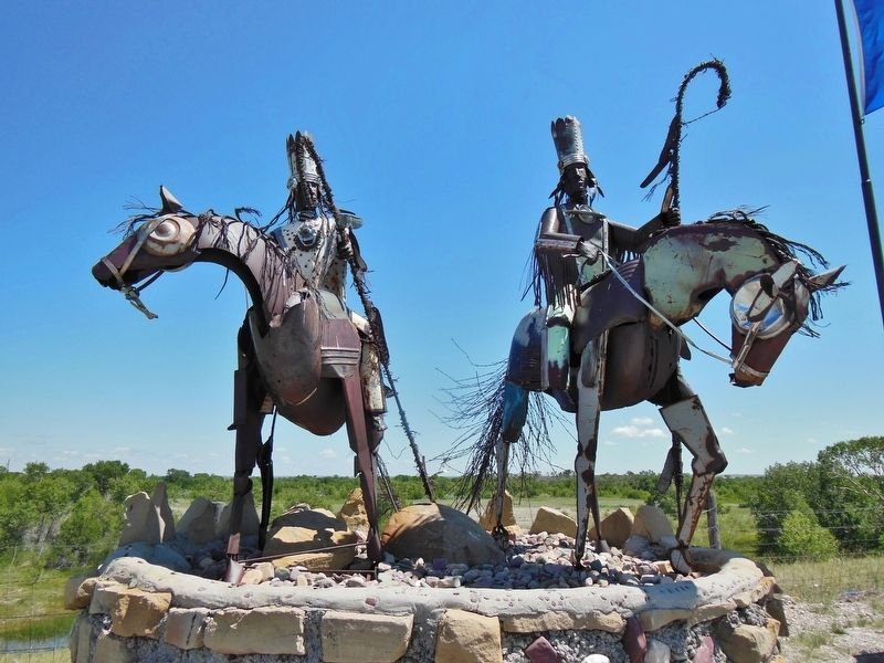 Blackfeet on Horses Sculpture (<i>6/10 mile north of marker on US Highway 89</i>) image. Click for full size.