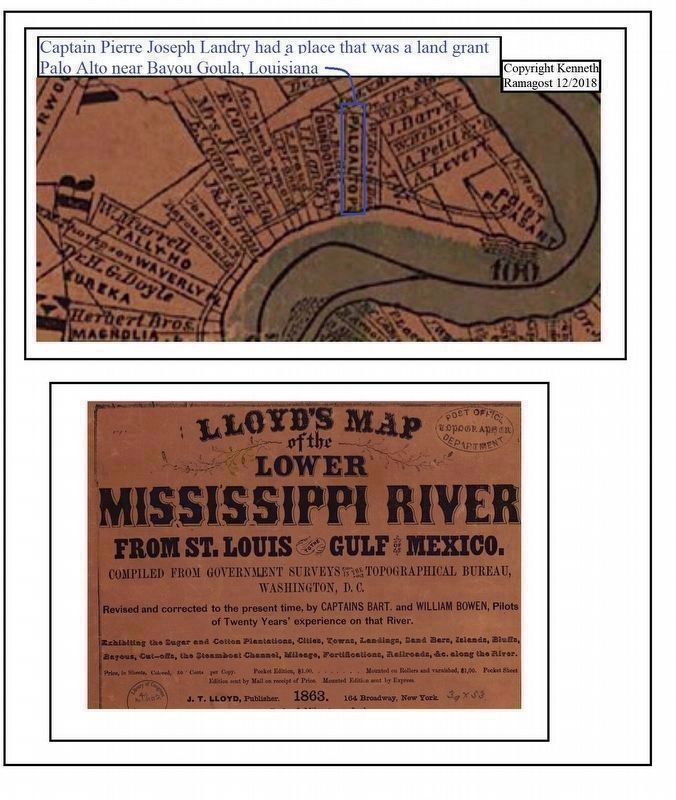 Capt. Pierre Joseph Landry place was located on the West Bank of the Mississippi River image. Click for full size.