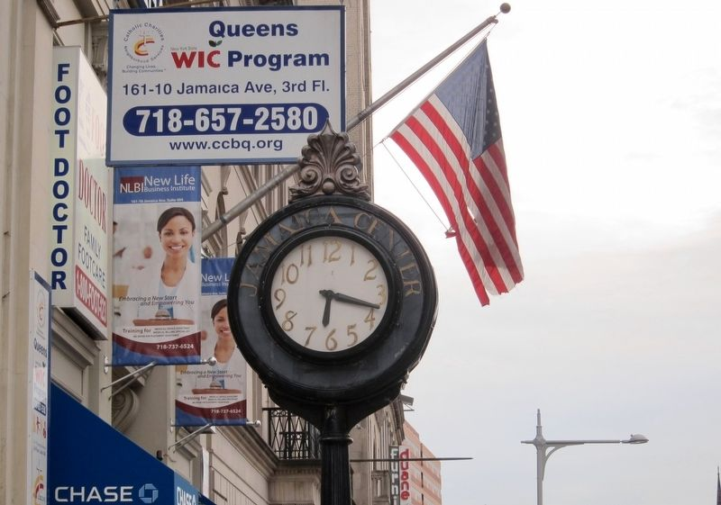 Jamaica Center Sidewalk Clock Face image. Click for full size.