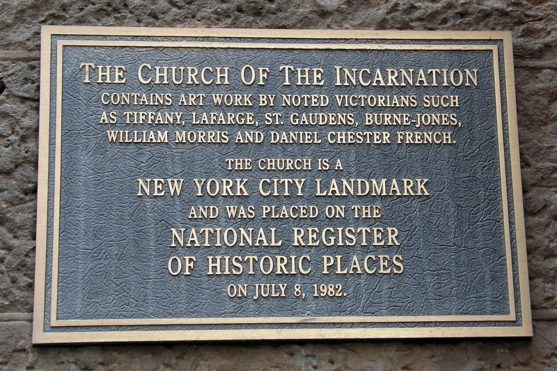 The Church of the Incarnation Marker image. Click for full size.