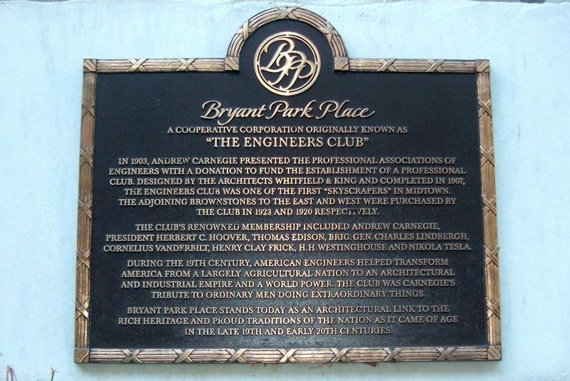 The Engineers Club Marker image. Click for full size.