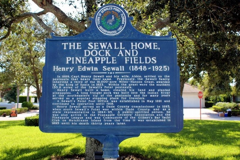 The Sewall Home, Dock and Pineapple Fields-Henry Edwin Sewall (1848-1925) Marker image. Click for full size.