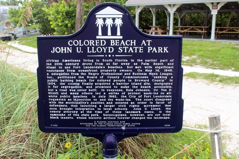 Colored Beach at John U. Lloyd State Park Marker image. Click for full size.