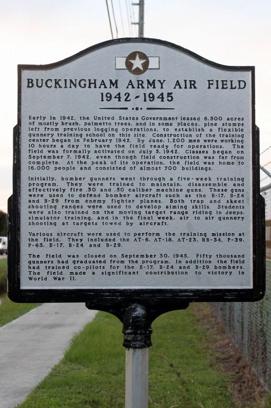 Buckingham Army Air Field Marker image. Click for full size.