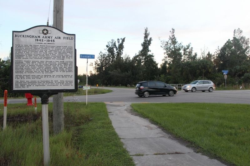 Buckingham Army Air Field Marker looking south on Gunnery Rd image. Click for full size.