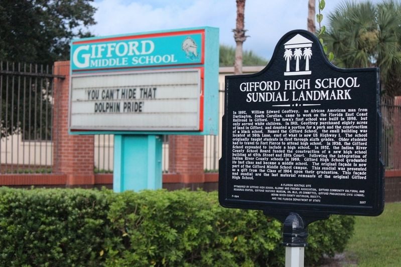 Gifford High School Sundial Landmark Marker and Gifford Middle School sign image. Click for full size.