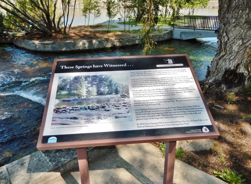 These Springs Have Witnessed... Marker (<i>wide view; Giant Springs & Missouri River background</i>) image. Click for full size.