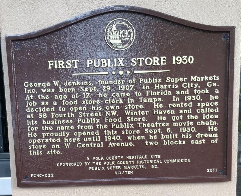 First Publix Store 1930 Marker image. Click for full size.