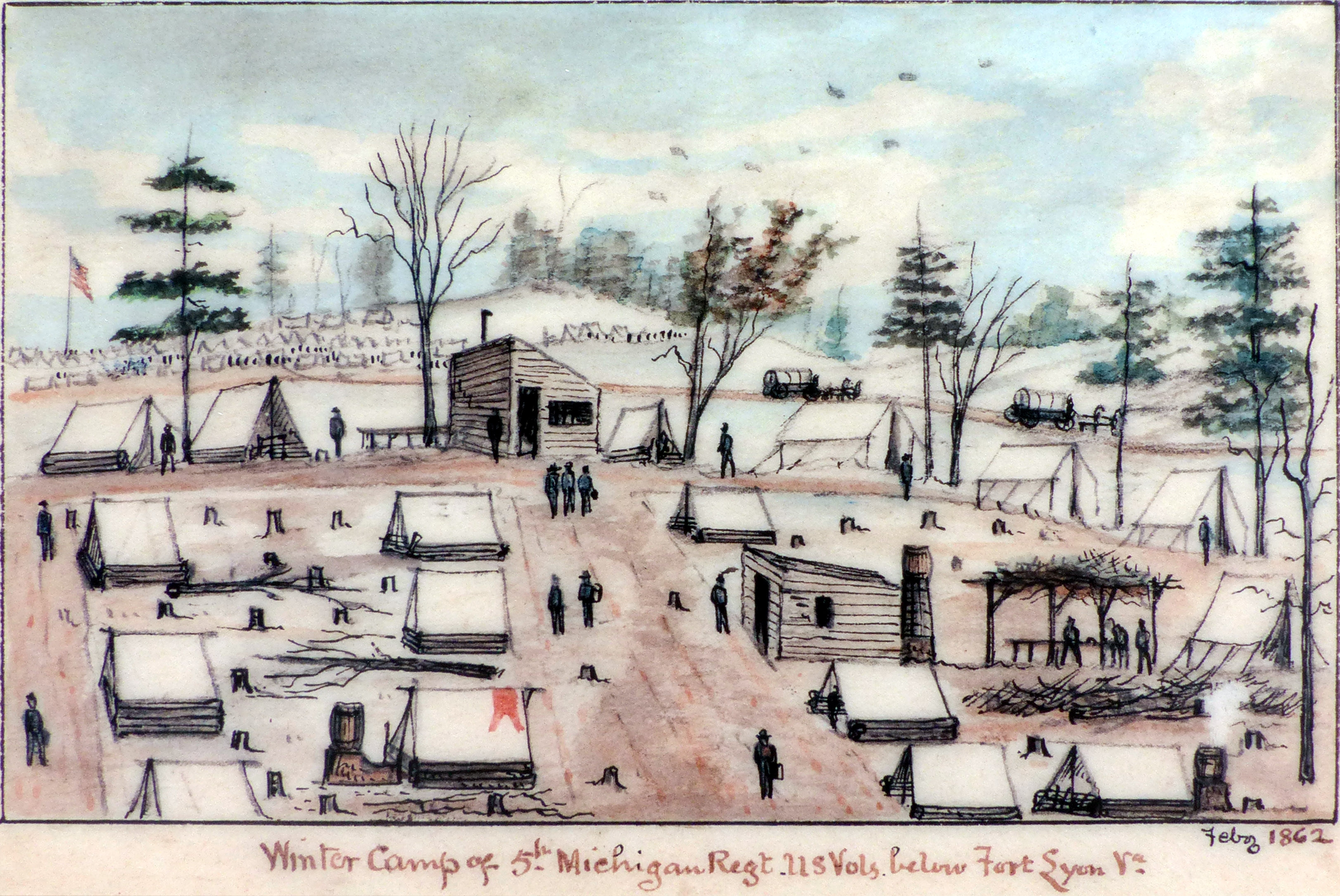 Winter Camp of the 5th Michigan Regiment U.S. Vols. Below Fort Lyon Va., February 1862