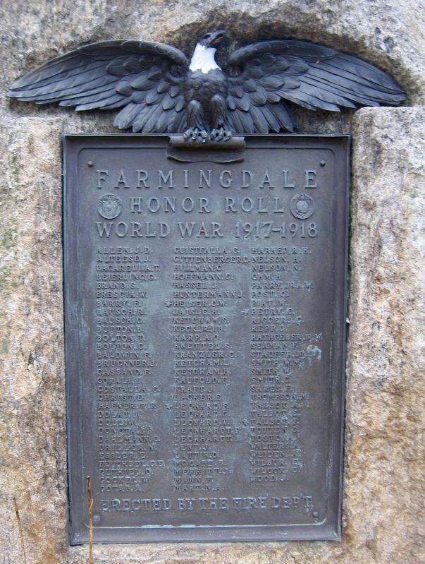 Farmingdale Honor Roll World War 1917-1918 Marker image. Click for full size.