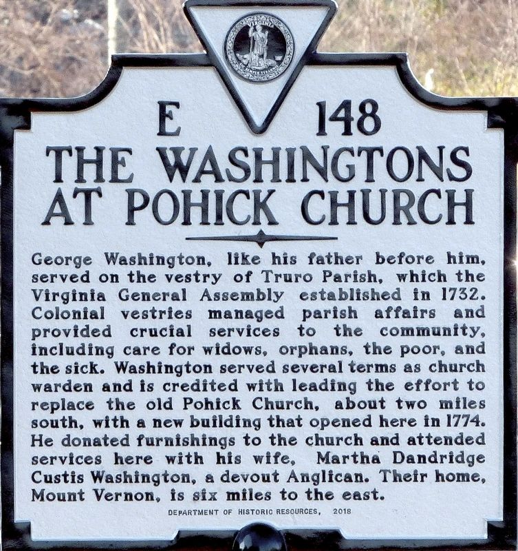 The Washingtons at Pohick Church Marker image. Click for full size.