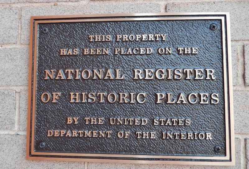 National Register of Historic Places plaque (<i>mounted at eye-level, right of entrance doors</i>) image. Click for full size.
