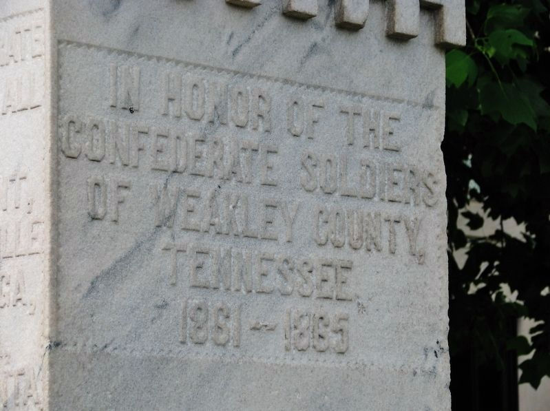 Weakley County Tennessee Confederate Monument (<i>front/south-side inscription</i>) image. Click for full size.