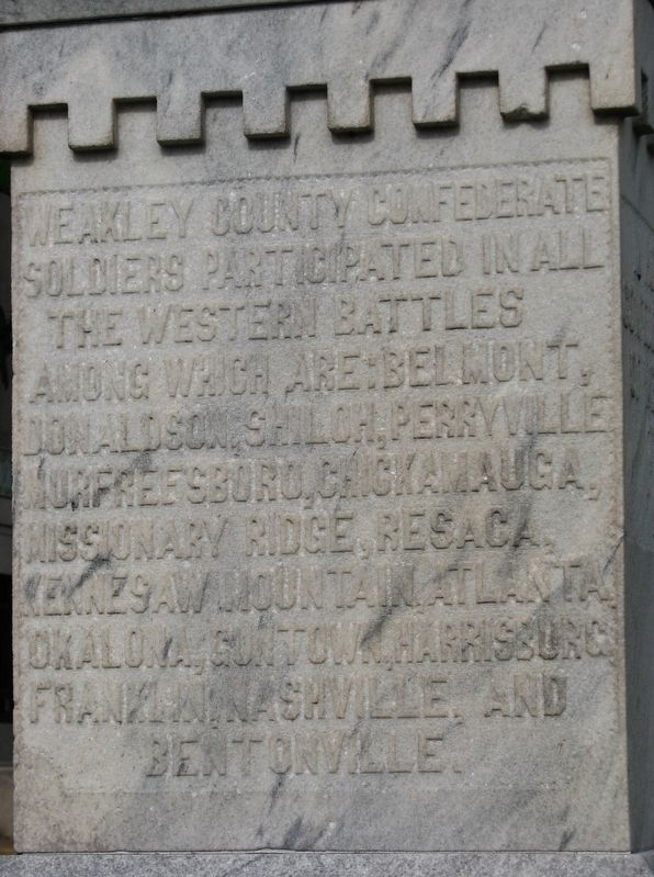 Weakley County Tennessee Confederate Monument (<i>west-side inscription</i>) image. Click for full size.
