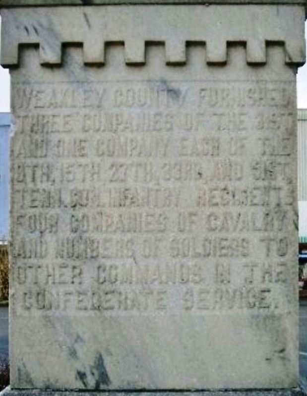Weakley County Tennessee Confederate Monument (<i>east-side inscription</i>) image. Click for full size.