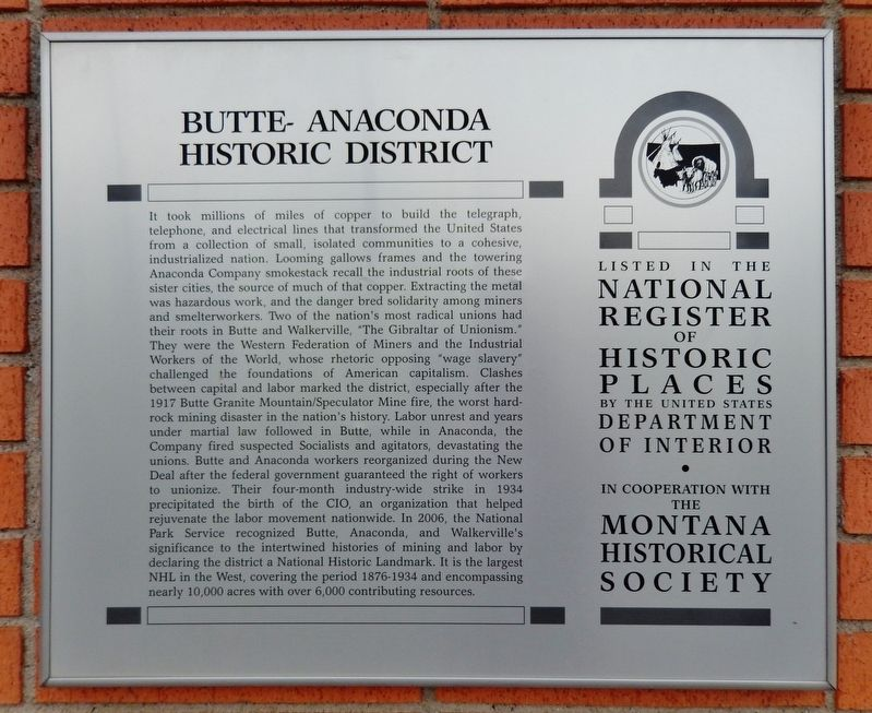 Butte-Anaconda Historic District Marker image. Click for full size.