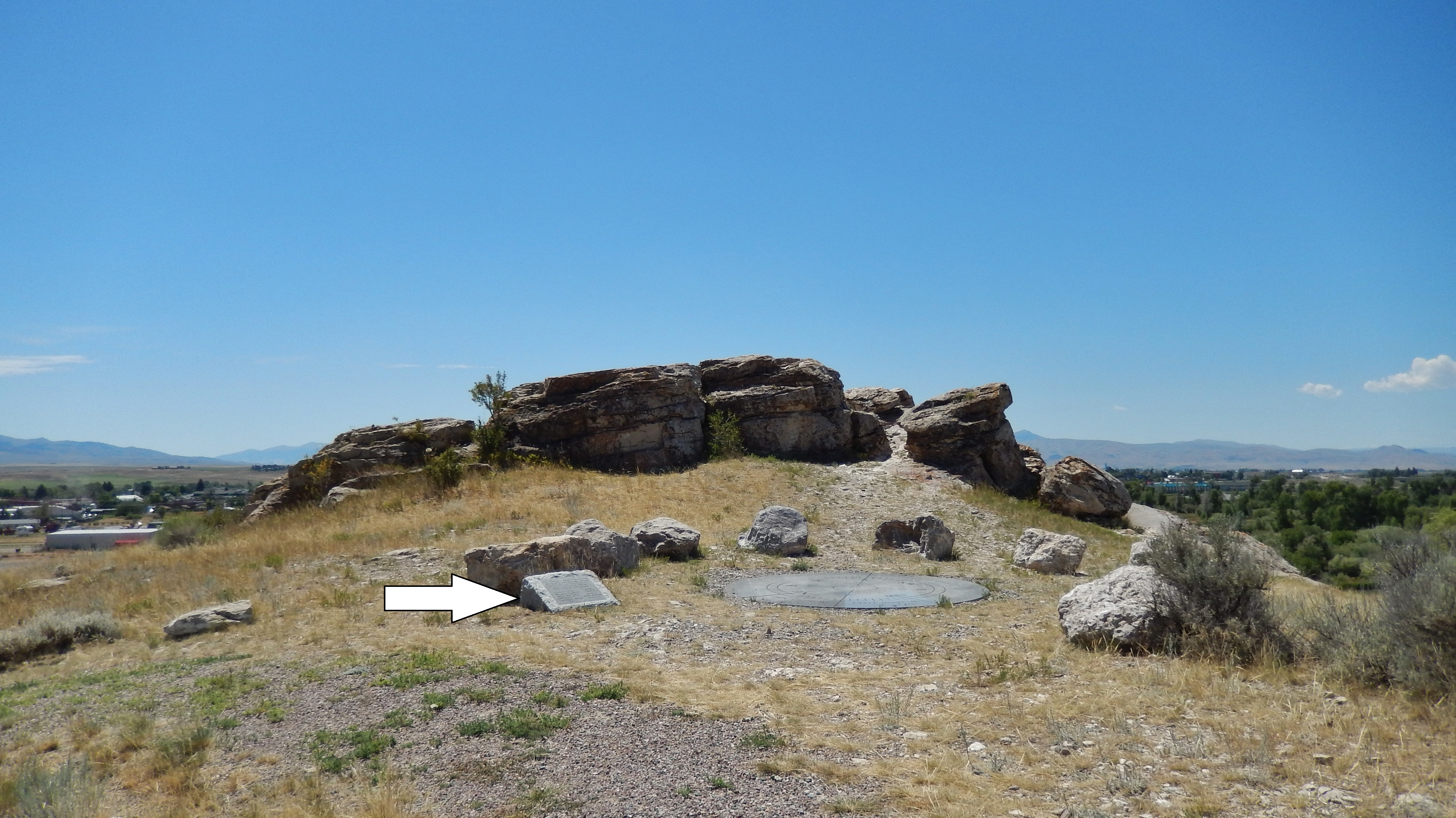 Clark Pocket Compass Marker & Monument (<i>wide view looking southwest; marker on left</i>)