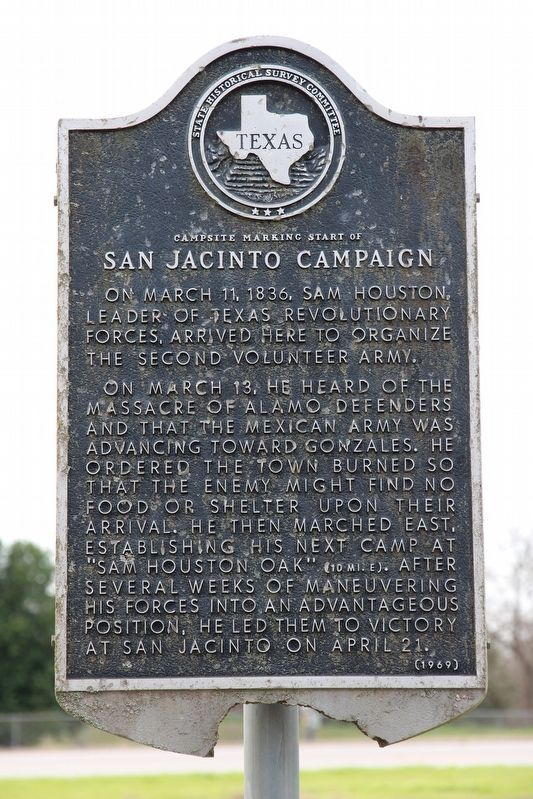 Campsite Marking Start of San Jacinto Campaign Marker image. Click for full size.