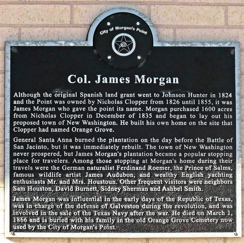 Col. James Morgan Marker image. Click for full size.