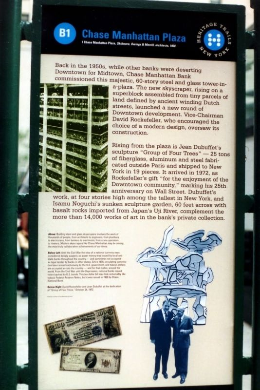 Chase Manhattan Plaza Marker, 2000 image. Click for full size.