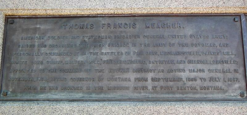 Thomas Francis Meagher Memorial (left panel) image. Click for full size.
