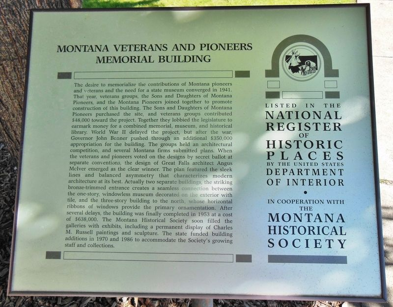 Montana Veterans and Pioneers Memorial Building Marker image. Click for full size.