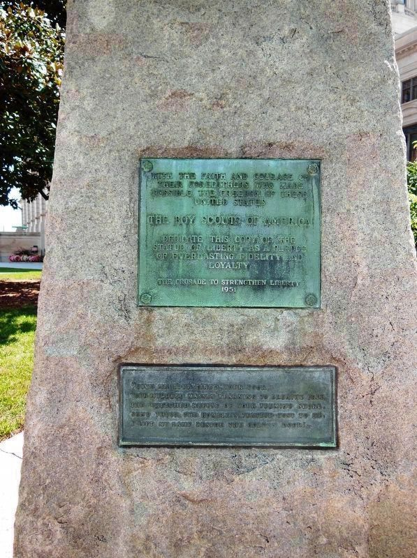 Replica of the Statue of Liberty Marker (<i>tall view</i>) image. Click for full size.