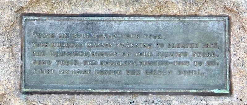 Statue of Liberty Plaque with Emma Lazarus quote (<i>mounted on pedestal below marker</i>) image. Click for full size.