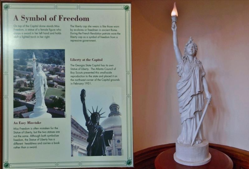 "Georgia State Capitol ""Miss Freedom"" Statue<br>(<i>interpretive exhibit inside the Capitol</i>) image. Click for full size."