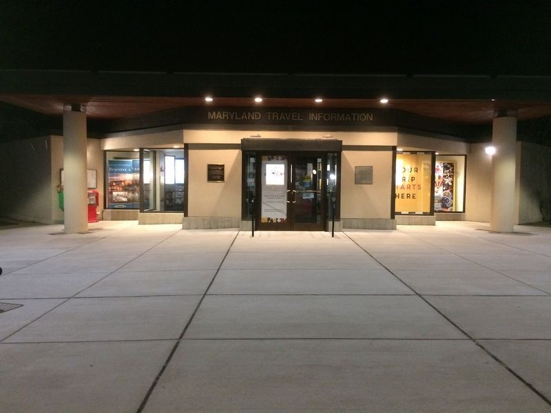 Travel Information Center building. Marker is left of main entrance door. image. Click for full size.