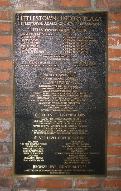 Littlestown History Plaza: Sponsors and Contributors Marker image. Click for full size.