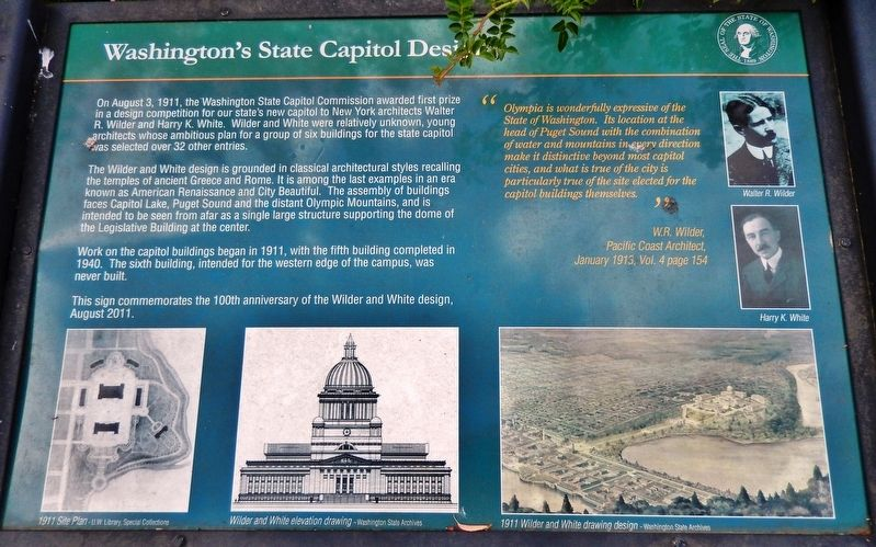 Washington's State Capitol Design Marker image. Click for full size.